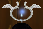 Equipped  Silver Angelic Halo viewed from the front